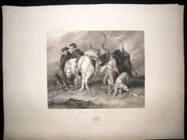 After Landseer C1840 LG Folio Steel Engraving. Deer Stalkers. Horse etc